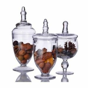 Image Is Loading Glass Canisters Set 3pc Home Bathroom Decor Crystal