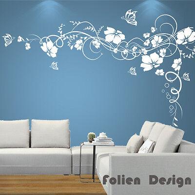 Adesivo murale Viticcio Fiori con Immagine da parete muro Farfalle pf27