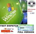Windows XP Home Edition SP3 with COA License / Product Key + 32-Bit CD System