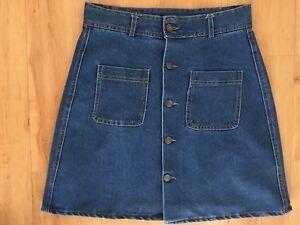 Ladies-Blue-Denim-INBDUE-WOMAN-Skirt-Size-L-10-12-A-Line-Front-Buttons-Pockets