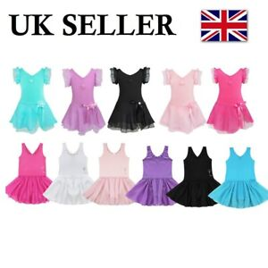 UK-Girls-Classic-Ballet-Dance-Dress-Gymnastics-Leotard-Tutu-Skirt-Dancewear