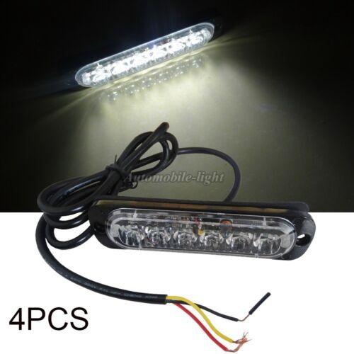 4 X 18W 6 LED emergency WHITE Bar Beacon Warning Hazard Flash Strobe Car Light