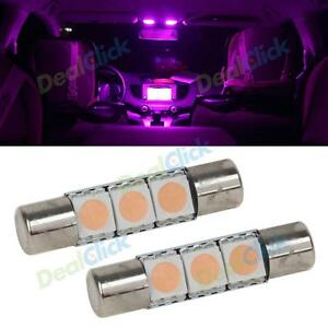 Vanity Lamp In Car : 2pcs Pink Purple 3SMD LED Bulb for Car Vanity Mirror Lights Sun Visor Lamp eBay