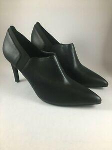 CALVIN-KLEIN-Women-039-s-US-8M-BELLADONNA-Black-Leather-Stiletto-Bootie-Pointed-Toe