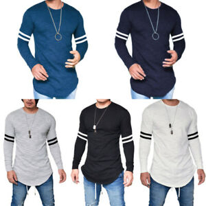 Long-Casual-Tops-Slim-Tee-T-shirt-O-Neck-Men-039-s-Fashion-Muscle-Blouse-Fit-Sleeve