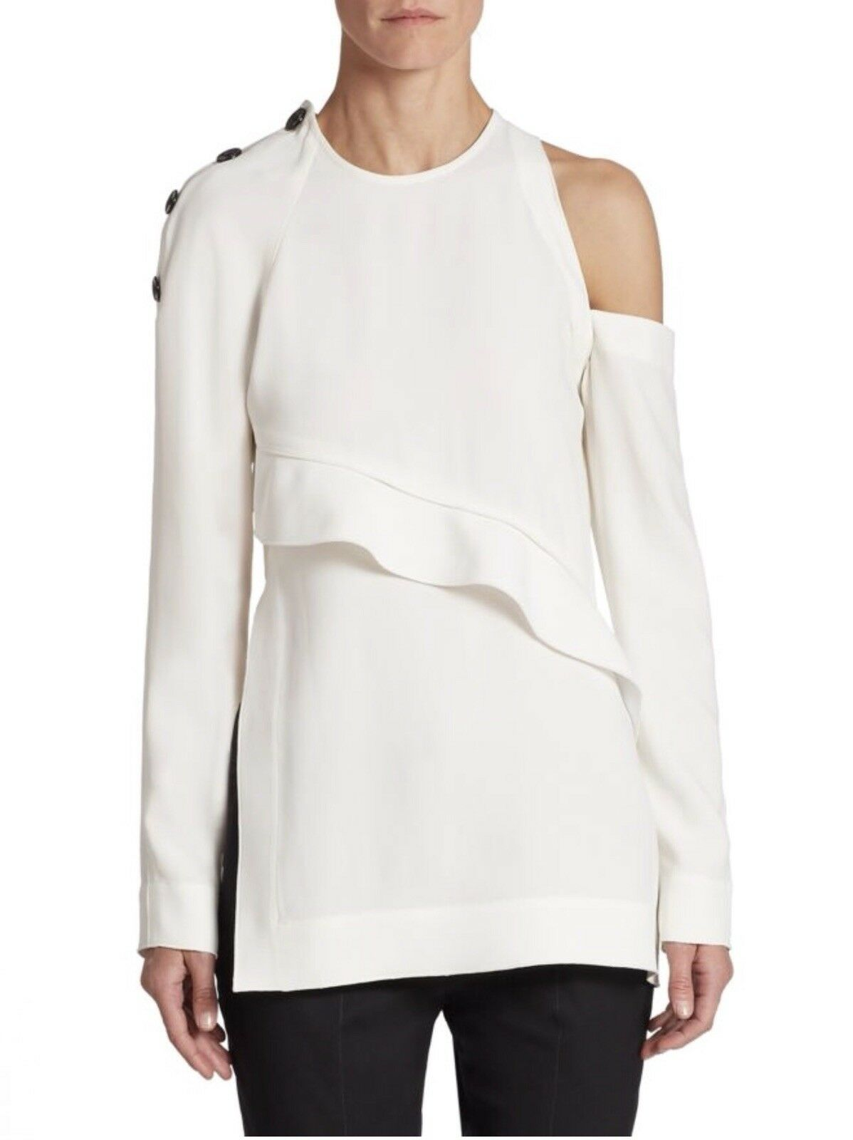 BNWT  Proenza Schouler 0 Cold Shoulder Button Weiß Crepe Top Off Shoulder