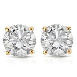 1ct 圓形鉆石耳釘耳環 14k 純金與螺絲后面
