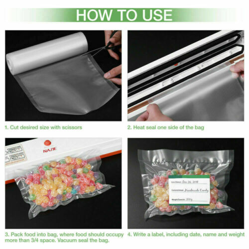 4 Rolls Commercial Grade Vacuum Sealer Bags Roll For Food Saver And Sous Vide
