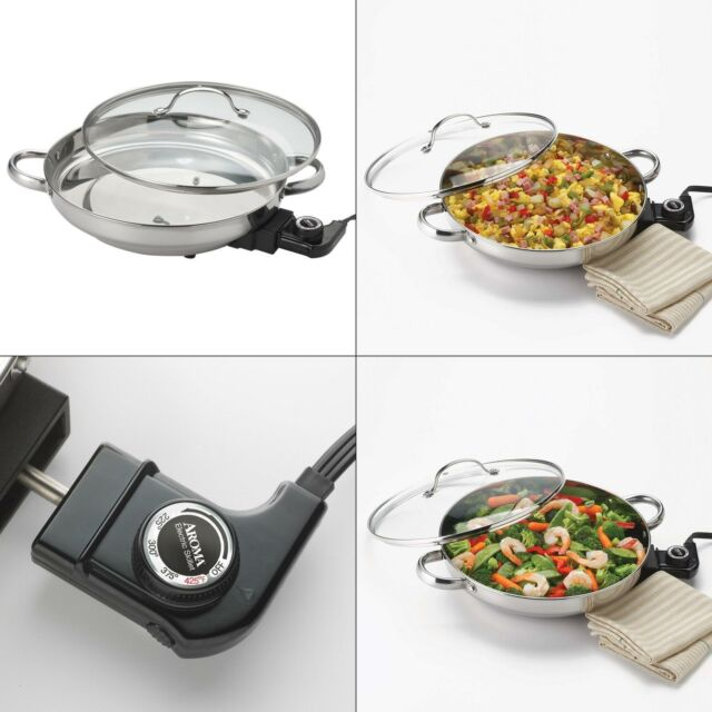 AROMA Electric Skillet Stainless Steel Adjustable Temperature Control Glass Lid
