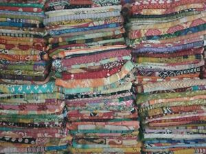 Reversible-Kantha-Lot-Twin-Quilt-Indian-Vintage-Handmade-Blanket-Throw-Patchwork