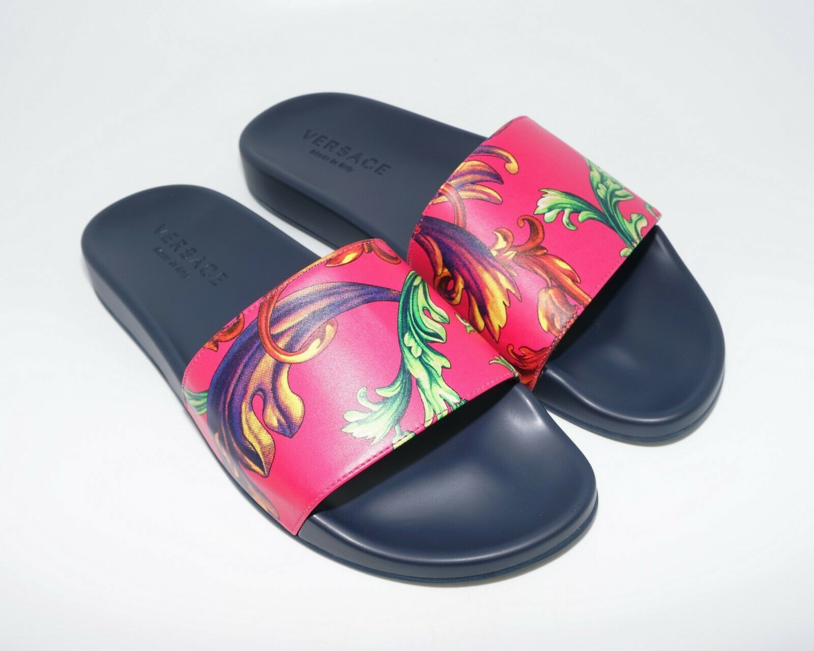 Versace Men's Baroque Print Leather Shower Slide Sandals, Navy Multi, MSRP  495