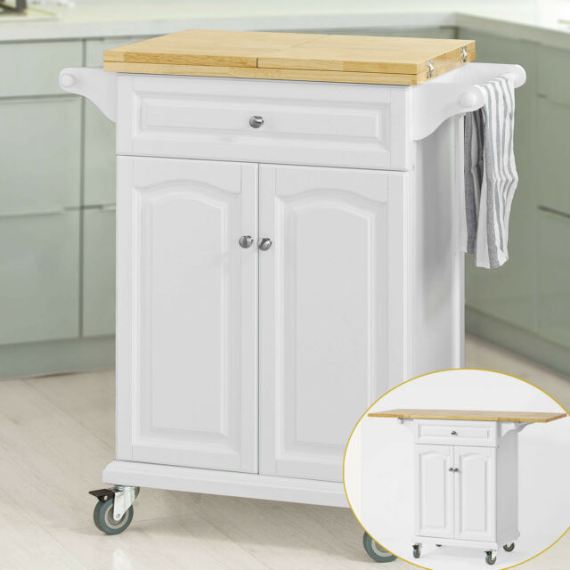 SoBuy® Kitchen Trolley with Extendable Worktop, Kitchen Bar Cabinet, FKW36-WN,UK