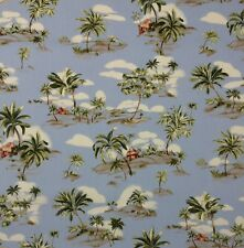 "AMETEX TROPICAL ISLAND SKY BLUE #D4006 PALM TREE TIKI HUT FABRIC BY YARD 54""W"