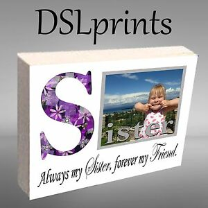 Personalised Photo Block Wooden Any Image Sister Brother Daddy Mummy Keepsake