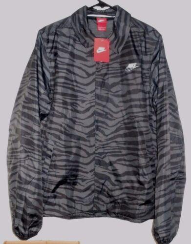 Nike sz L Men/'s Snap Front Jacket w Mesh Lining NEW  641623 060 Grey /& Black