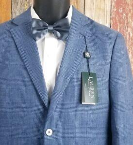 New-Lauren-Ralph-Lauren-Linen-Blue-Plaid-Sport-Coat-Jacket-38-Regular