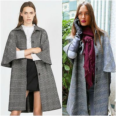 ZARA Woman BNWT Authentic Grey Wool Checked Coat Cape RRP GBP 139.00 7872/659