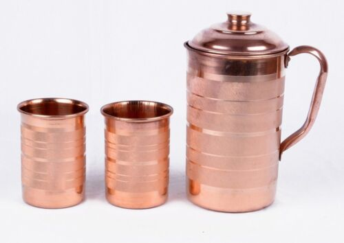 Copper Handmade Water Jug Pitcher+ 2 Tumbler Set Natural Ayurveda Health Benifit