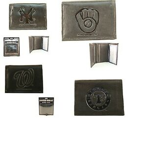 Brand-New-MLB-Team-Black-Tri-Fold-Leather-Wallet-Assorted-Teams