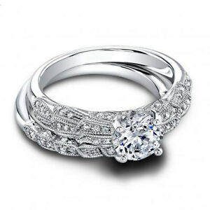 1.30 Ct Round Moissanite Band Set 14K Solid White Gold Anniversary Ring Size 7.5