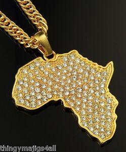 Gold Africa Map Necklace Pendant Chain Rasta Reggae Afro Black