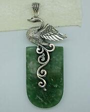 HUGE Designer SWAN Gemstone Pendant  925 Solid Sterling Silver  - 7.6 cm