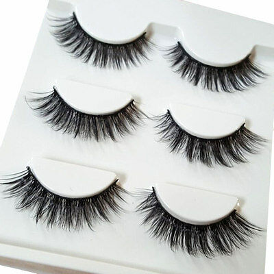 3 Pairs Black Real Mink Hair Black Thick Long False Fake Eye Lashes Eyelashes