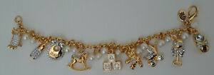 Danbury-Mint-Gold-Tone-Birth-Announcement-Charm-Bracelet-J