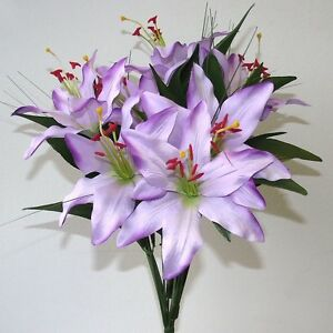 28c5f7ebbc00 Artificial Purple Tiger Lily Bush - 45 cm - 6 Flowers - Spring and ...