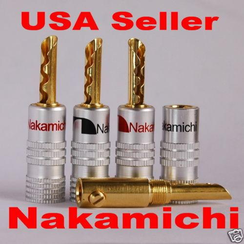 30 Nakamichi Speaker BFA banana plug Jack Adapter Audio connector 24K USA N0534E