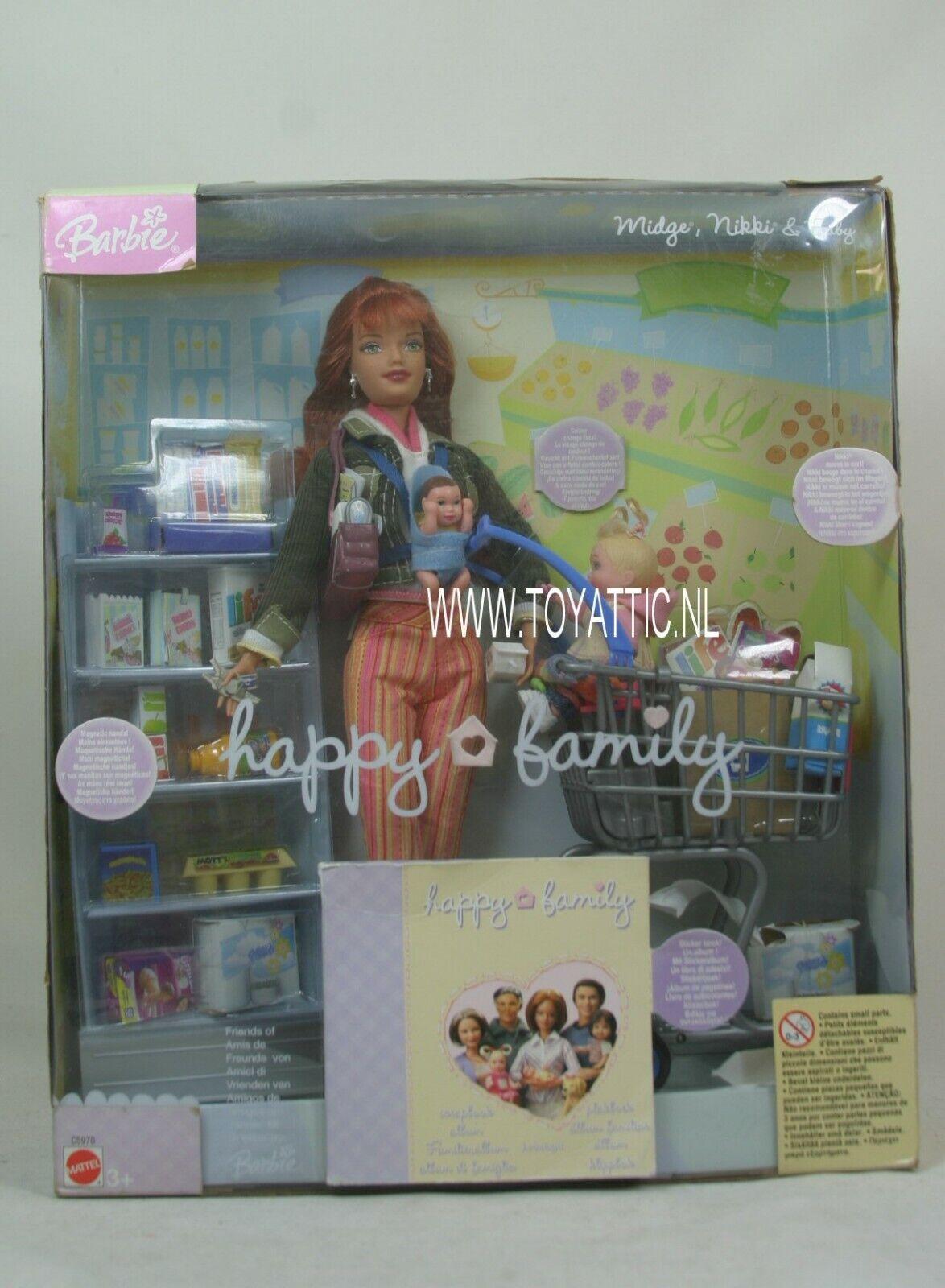 Cecidomia de la familia feliz de Barbie Nikki y bebé ir de compras Conjunto de Regalo Mattel c5970 nunca quitado de la caja
