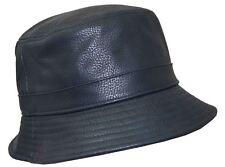 Kb Men's Leather Feel Polyester Bucket Hat Navy Blue