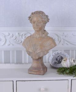 Jugendstil-Bueste-Maedchenfigur-Shabby-Chic-Frauenbueste-Vintage-Art-Nouveau-Figur