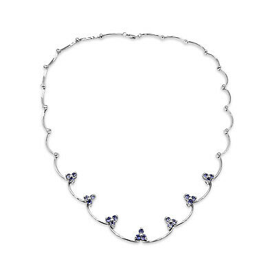 TANZANITE /&  SILVER NECKLACE EARRINGS SET EARTH MINED STONES WHITE GOLD .77 CWT
