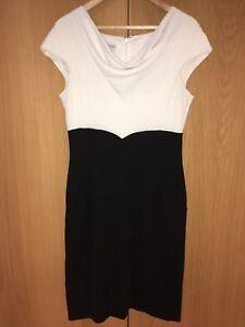 Dress White Shift 12 Size Uk Black Brand Hobbs x1IwgFvn