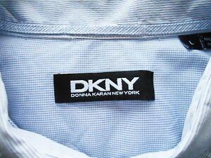 DKNY-Pale-Blue-Striped-Plaid-Grid-Cotton-Shirt-Size-L
