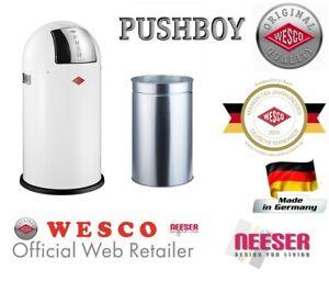 Wesco-PUSHBOY-50-Liter-Weiss-Bin-Muelleimer-Abfalleimer-bin-trash-can-Poubelle