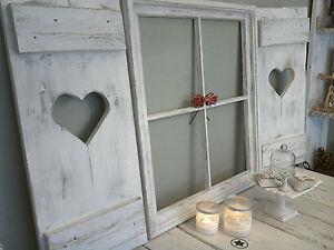 set shabby fensterladen herz sprossenfenster esszimmer foto rahmen holz altwei ebay. Black Bedroom Furniture Sets. Home Design Ideas