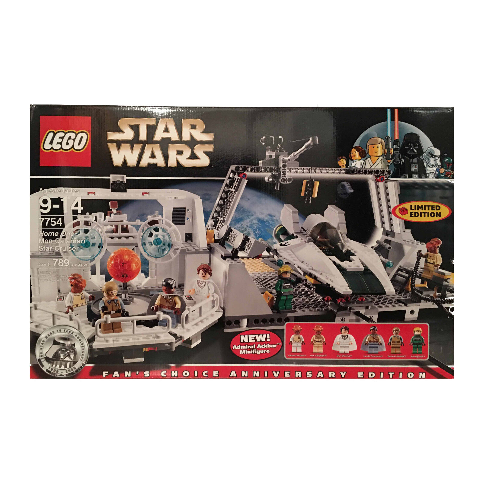 LEGO Star Wars 7754 Mon Calamari New in Sealed Creased Box Retired 6 minifigs