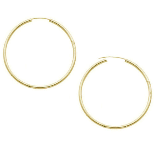 14k Yellow Gold Hoops Continuous Endless Hoop Earrings 1.25 mm Wide