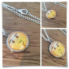 Emoji Thinking Thought face Charm pendant necklace txt geek