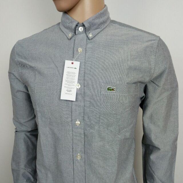 7902ed3b Lacoste Mens Shirt Grey Chambray Oxford Regular Fit FR 40 UK M New RRP£90
