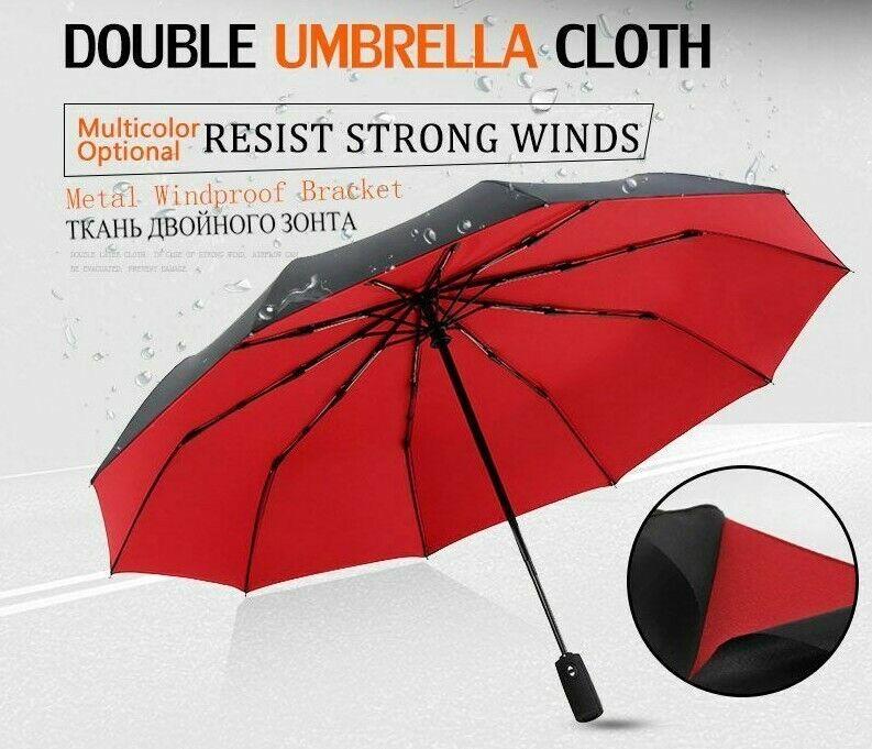 Fully-Automatic Portable Umbrella Strong Wind Resistance Three-folding Umbrellas