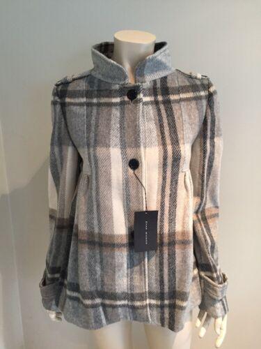 Brown Neck Medium Størrelse Zara Beige Check High Uld Bnwt Coat qTAwaXxz