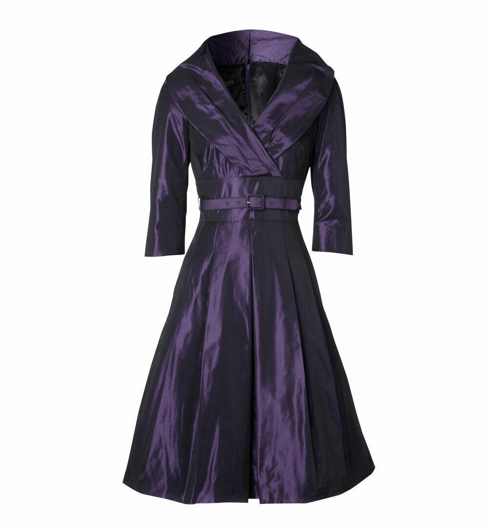 HOBBS DOE en satin mauve synthétique Wrap col châle années 50 robe de cocktail 14 deux fois