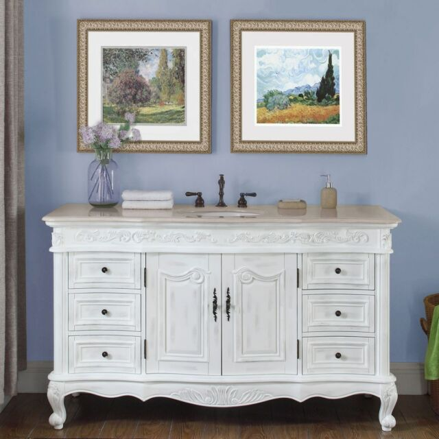 60 Marble Counter Single Sink Bathroom Vanity White Oak Finish Cabinet 273cm