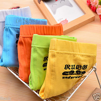 5PCS 5 Colors Cotton Boxer Briefs Underwear Underpants for Boys Kids Size 5T-14T
