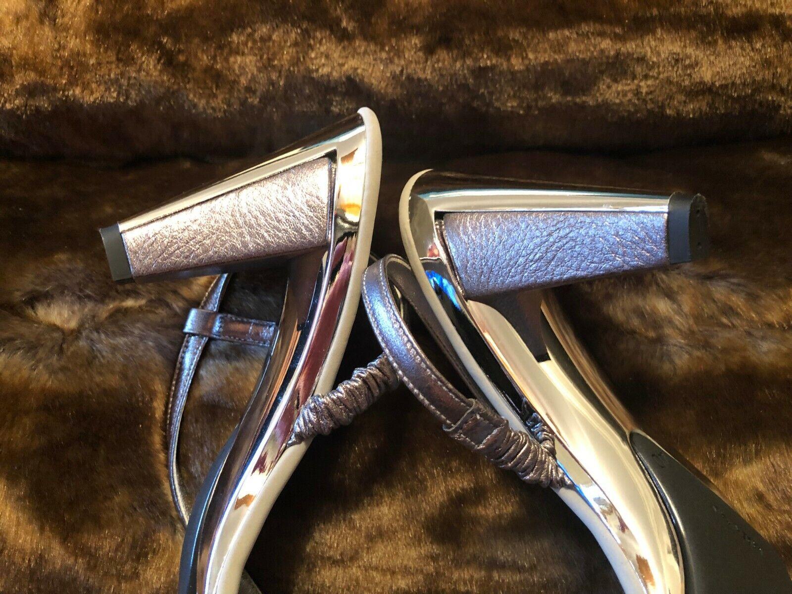 Onex Gunmetal Cuir Crystal Accents avec Argent Miroir Sandale Talon EU 40 US 10