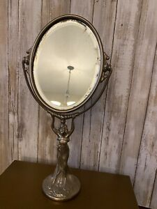 Antique Ornate Figural Silver Art Nouveau Pivoting Vanity Lady Oval Table Mirror