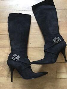 Maud 40 Stylish 7 Stiletto neri in scamosciata Stivali Designer Gem Frizon Sexy pelle rv6w1Arq